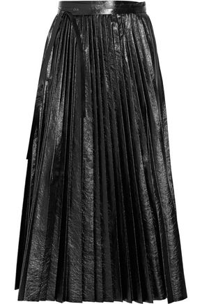 VALENTINO Pleated cracked-leather wrap skirt