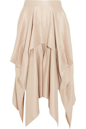 BARBARA CASASOLA Draped asymmetric silk-crepe skirt