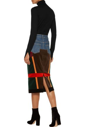 TOM FORD Patchwork velvet and satin-paneled denim midi skirt