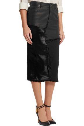 TOM FORD Calf hair, leather and denim skirt