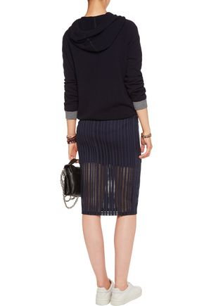 T by ALEXANDER WANG Open-knit stretch cotton-blend jersey skirt