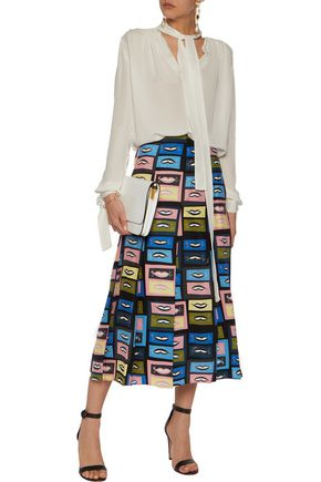 EMILIO PUCCI Pleated printed silk crepe de chine midi skirt