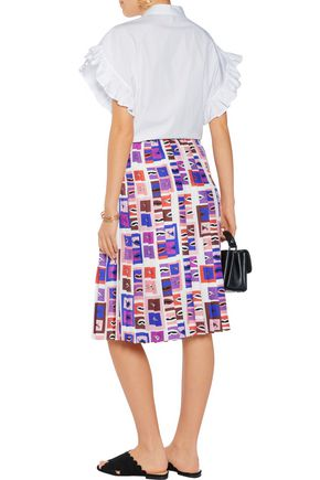 EMILIO PUCCI Pleated printed crepe-paneled fil coupé skirt