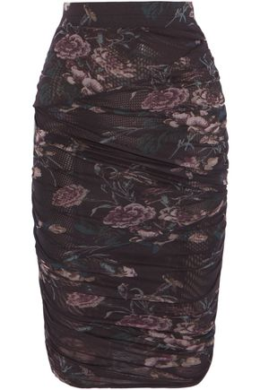 GANNI Ruched printed tulle skirt