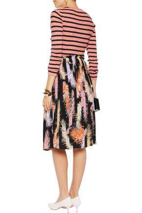 EMILIO PUCCI Printed pleated silk-crepe skirt