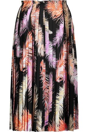 EMILIO PUCCI Printed pleated silk-crepe skirt
