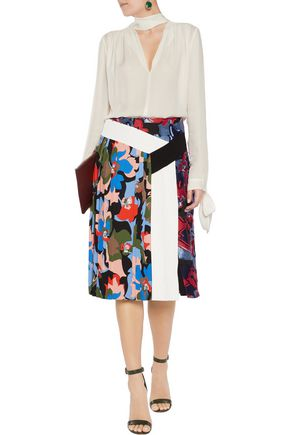 EMILIO PUCCI Pleated printed satin-twill skirt