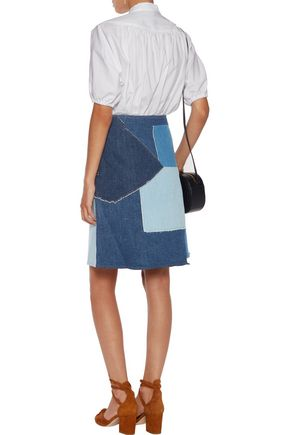 M.I.H JEANS Turo patchwork denim mini skirt