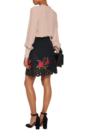 DOLCE & GABBANA Floral-embroidered crepe mini skirt