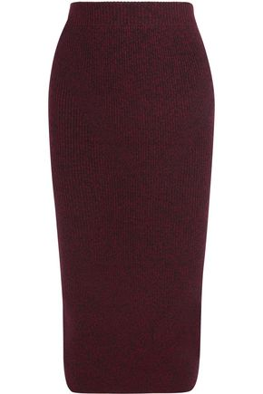 MAJE Ribbed-knit midi skirt