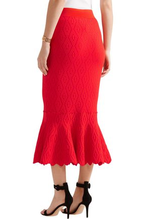 JONATHAN SIMKHAI Textured stretch-knit midi skirt