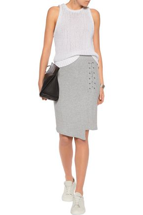SPLENDID Wrap-effect lace-up ribbed-knit skirt