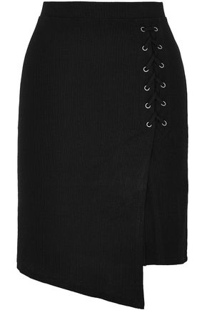 SPLENDID Lace-up asymmetric ribbed stretch-knit skirt