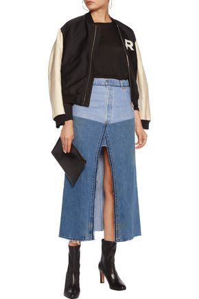 RE/DONE Paneled frayed denim midi skirt