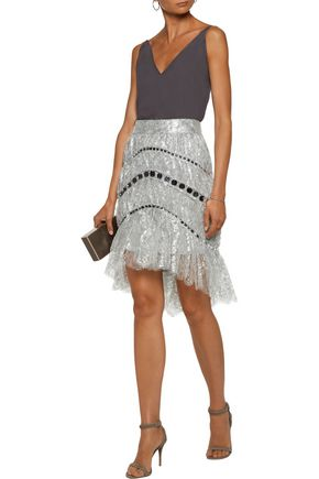 ZIMMERMANN Adorn asymmetric sequin-embellished metallic lace mini skirt