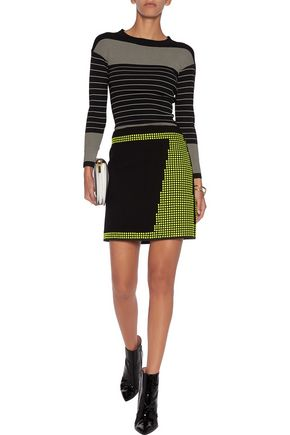 CHRISTOPHER KANE Studded wool-crepe skirt