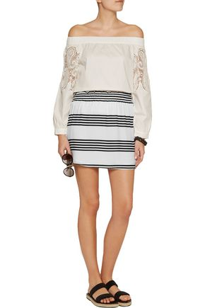 VIX Striped crepe skirt