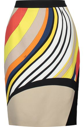 EMILIO PUCCI Wrap-effect printed crepe skirt