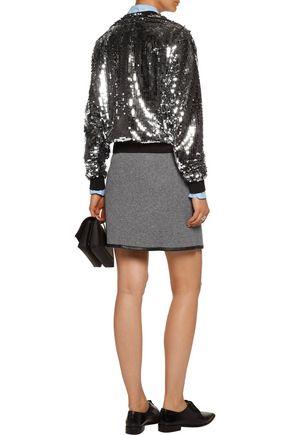 CARVEN Wrap-effect faux leather-trimmed wool-blend felt mini skirt
