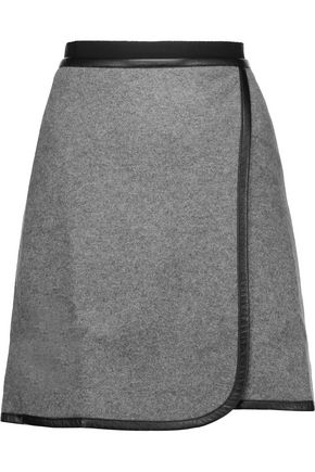 CARVEN Wrap-effect faux leather-trimmed wool-blend felt mini skirt