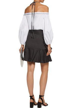 ALEXIS Anvivi pleated cotton-blend mini wrap skirt