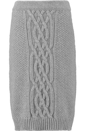 AGNONA Longuette cable-knit wool and cashmere-blend skirt