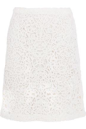 AGNONA Macramé wool skirt