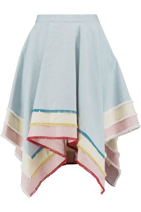 THOM BROWNE Asymmetric tiered cotton-oxford skirt