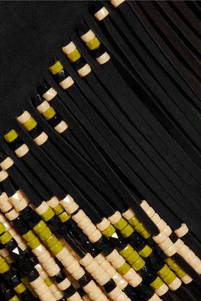 VALENTINO Bead-embellished fringed suede midi skirt