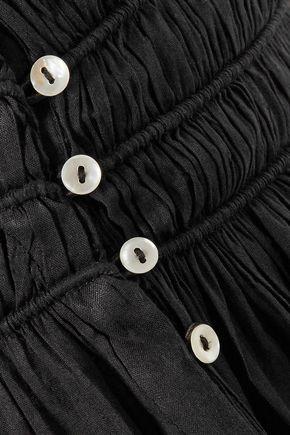 LOVESHACKFANCY Margaux paneled gathered cotton-voile midi skirt
