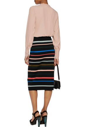 LELA ROSE Striped wool midi skirt