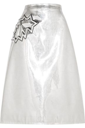 CHRISTOPHER KANE Metallic PVC-trimmed wool-crepe midi skirt
