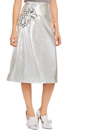 CHRISTOPHER KANE Metallic PVC-trimmed wool-crepe midi skirt