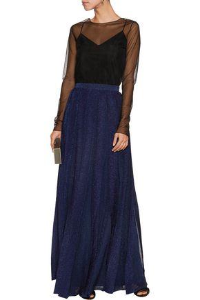 MISSONI Pleated metallic knitted maxi skirt