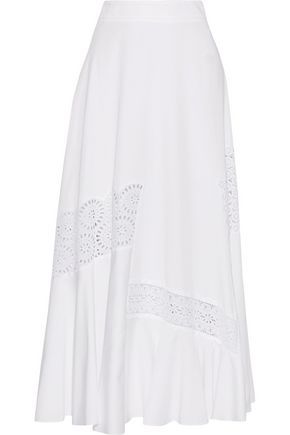 STELLA McCARTNEY Carine lace-paneled cotton-blend maxi skirt