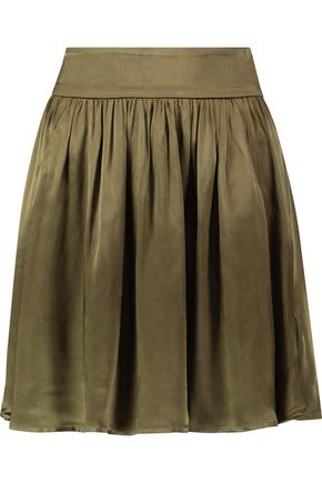 GANNI Pleated satin mini skirt