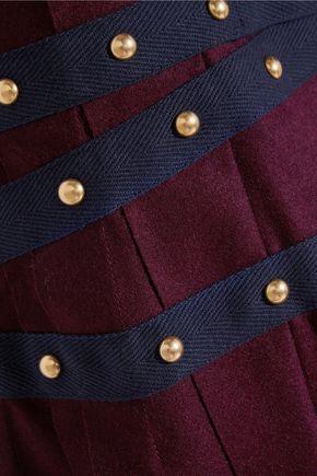 SACAI Pleated stud-embellished wool mini skirt