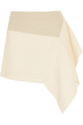 MARNI Asymmetric cotton and linen-blend mini skirt