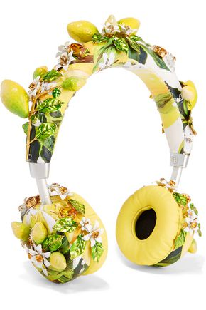 DOLCE & GABBANA Floral-appliquéd printed leather wireless headphones