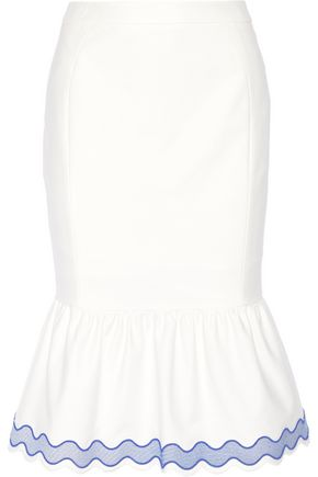 SJYP Fluted embroidered cotton-blend poplin skirt