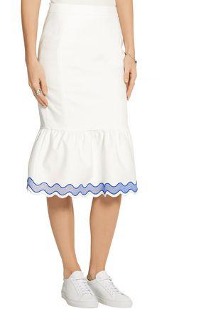 SJYP Fluted embroidered cotton-blend poplin skirt