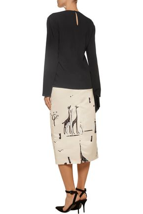 ROCHAS Printed satin midi skirt