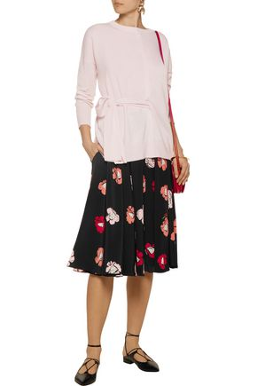 ROCHAS Pleated floral-print silk midi skirt