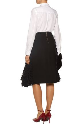 ROCHAS Crepe and appliquéd organza skirt
