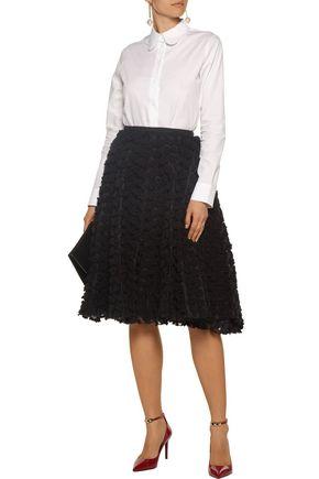 ROCHAS Crepe and appliquéd organza skirt