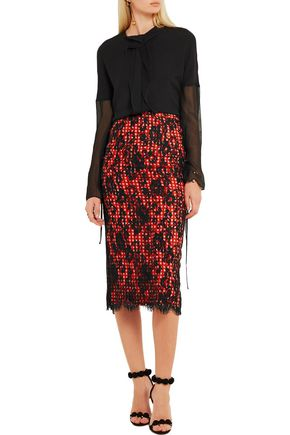 PREEN by THORNTON BREGAZZI Roos gingham cotton-blend and lace midi skirt