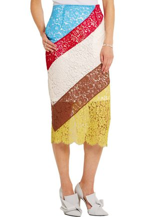 PREEN by THORNTON BREGAZZI Willow striped lace midi skirt