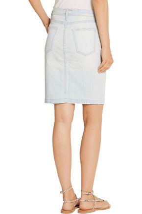 CURRENT/ELLIOTT The Dotty distressed stretch-denim skirt