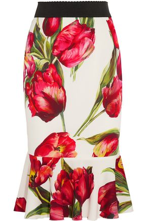 DOLCE & GABBANA Fluted floral-print stretch-silk skirt