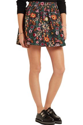 REDValentino Floral-print taffeta mini skirt
